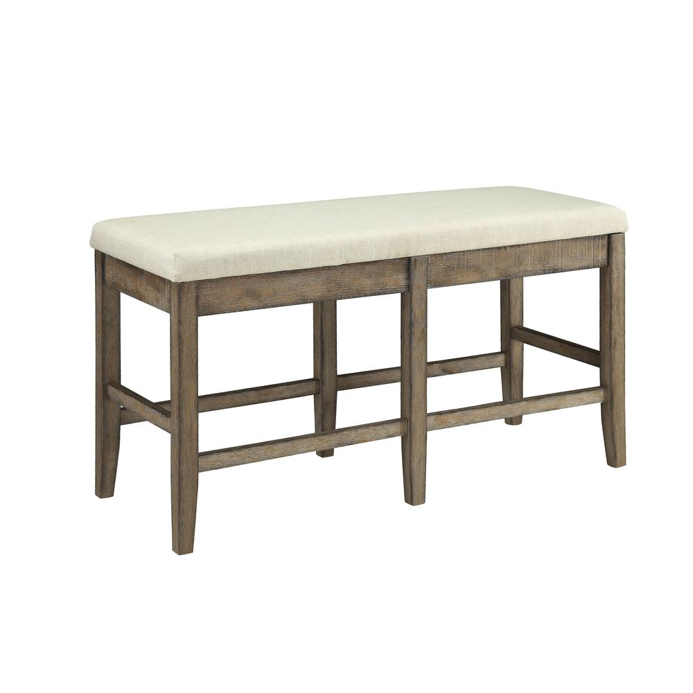Claudia Bench, Beige Linen & Salvage Brown. Picture 3