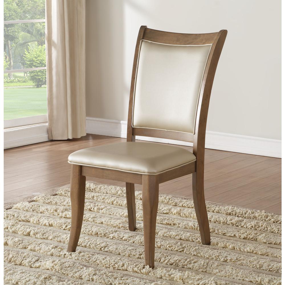 Harald Side Chair (Set-2), Beige PU & Gray Oak. Picture 1