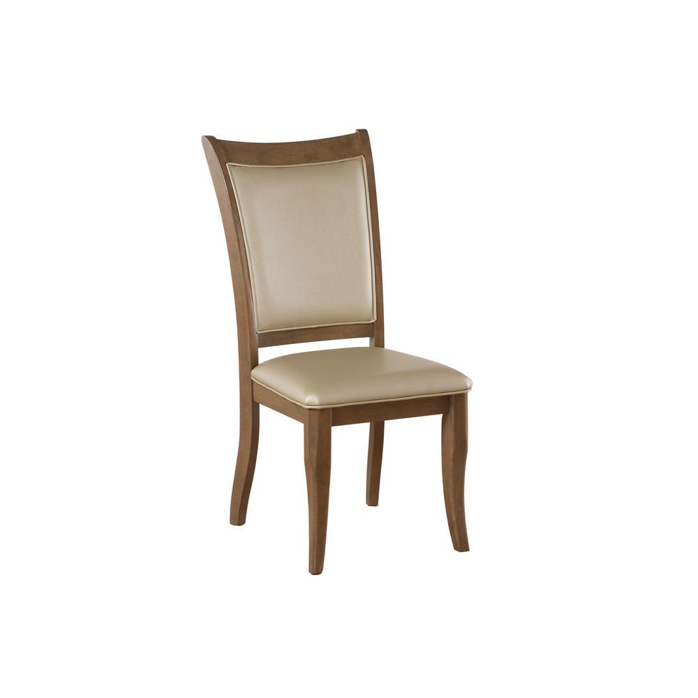 Harald Side Chair (Set-2), Beige PU & Gray Oak. Picture 2