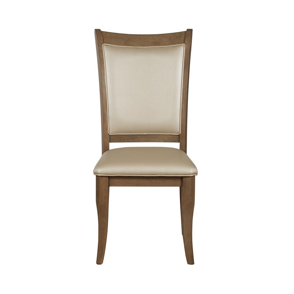 Harald Side Chair (Set-2), Beige PU & Gray Oak. Picture 3