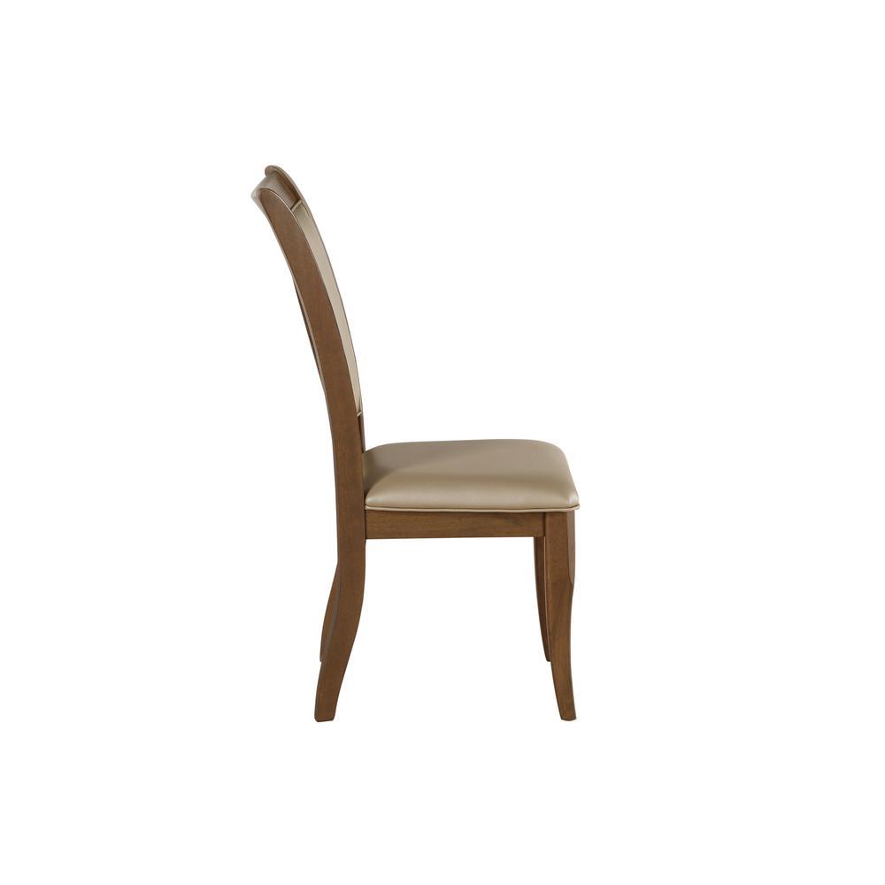 Harald Side Chair (Set-2), Beige PU & Gray Oak. Picture 4