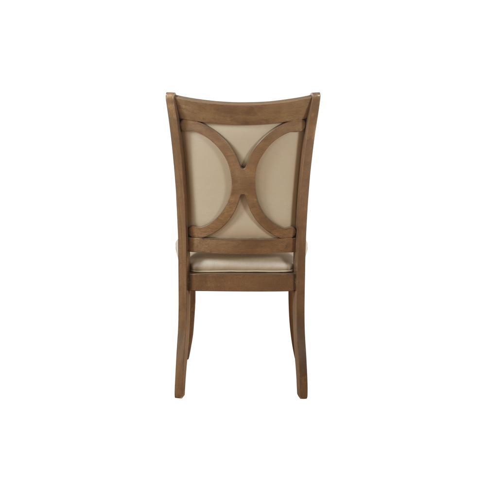 Harald Side Chair (Set-2), Beige PU & Gray Oak. Picture 5