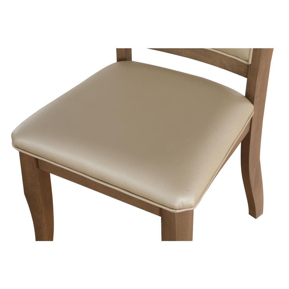 Harald Side Chair (Set-2), Beige PU & Gray Oak. Picture 6