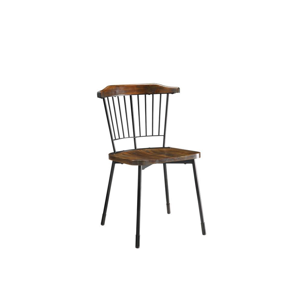 Orien Side Chair (Set-2), Black & Brown Oak. Picture 1