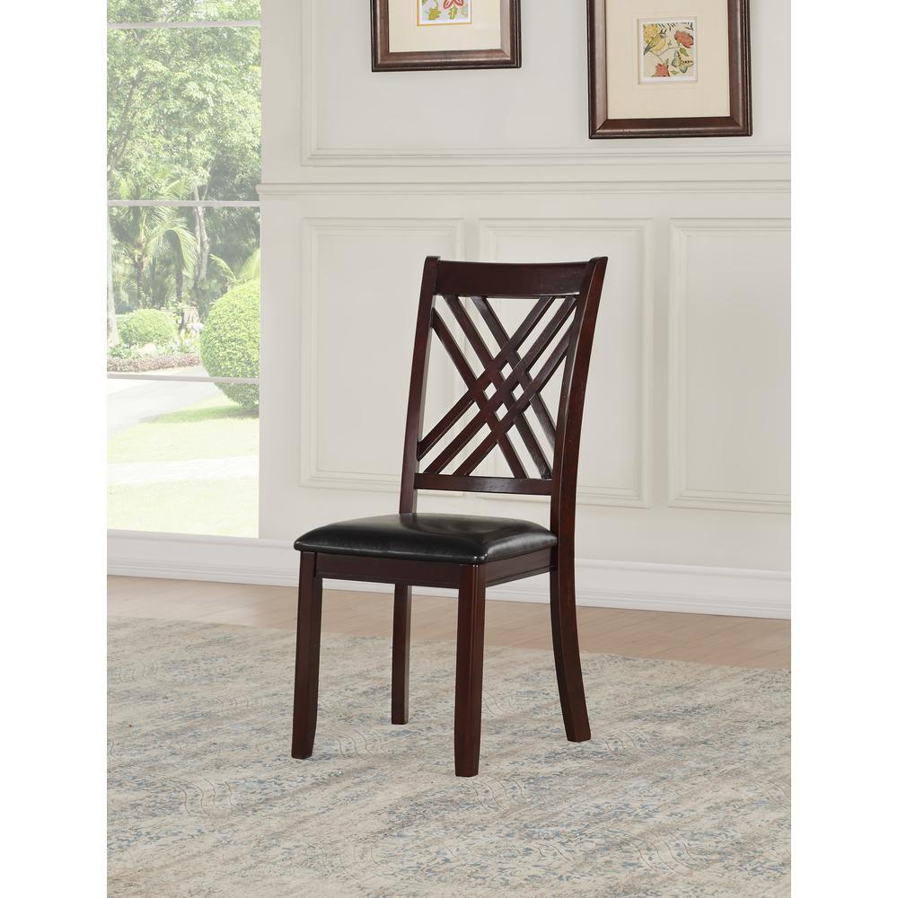 Katrien Side Chair (Set-2), Black PU & Espresso. Picture 1