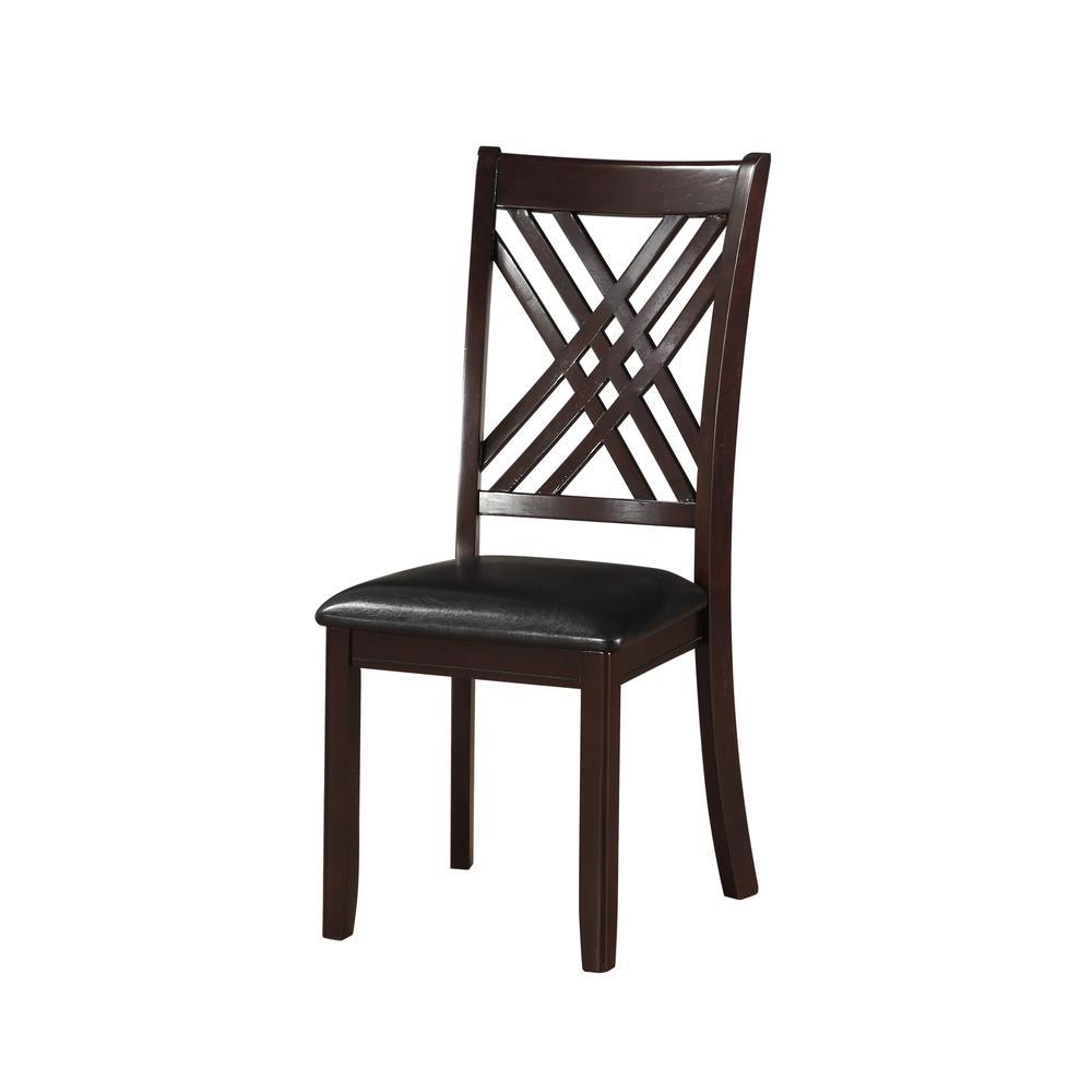 Katrien Side Chair (Set-2), Black PU & Espresso. Picture 2