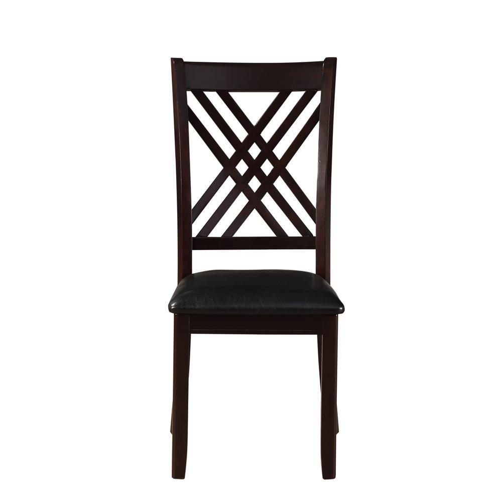 Katrien Side Chair (Set-2), Black PU & Espresso. Picture 3