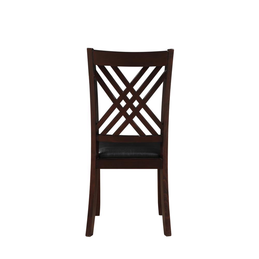 Katrien Side Chair (Set-2), Black PU & Espresso. Picture 5