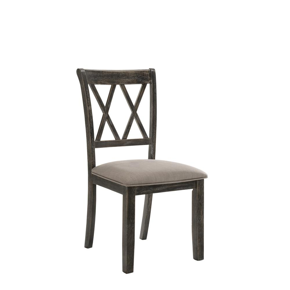 Claudia II Side Chair (Set-2), Fabric & Weathered Gray. Picture 1