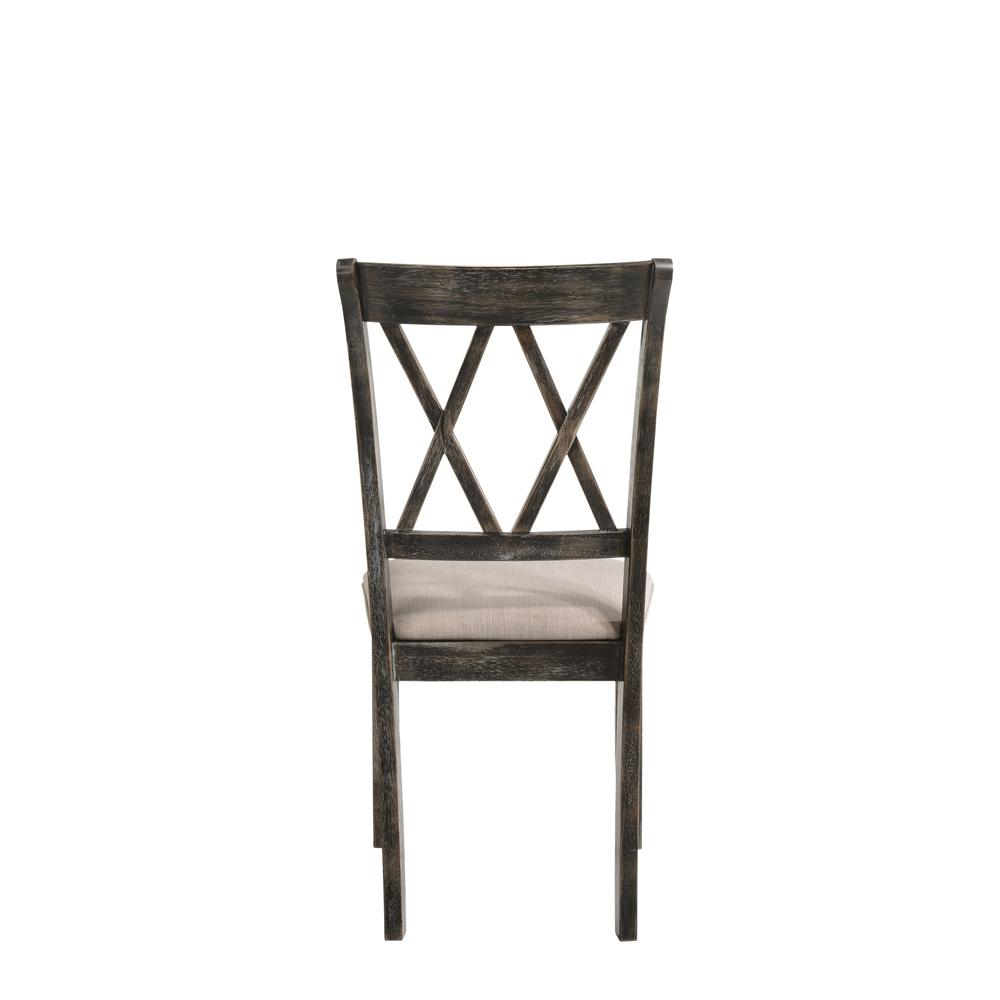 Claudia II Side Chair (Set-2), Fabric & Weathered Gray. Picture 2