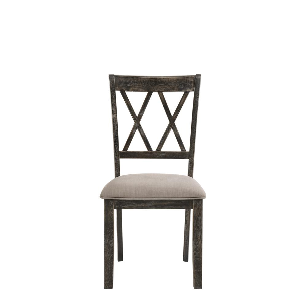 Claudia II Side Chair (Set-2), Fabric & Weathered Gray. Picture 3