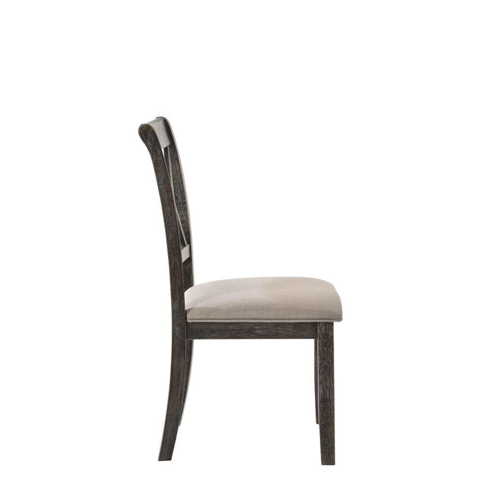 Claudia II Side Chair (Set-2), Fabric & Weathered Gray. Picture 4