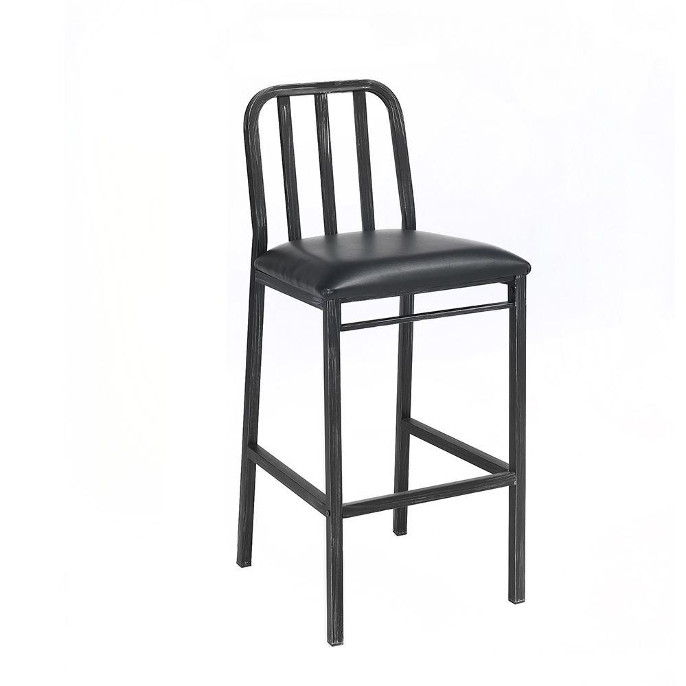 Jodie Bar Chair (Set-2), Black PU & Antique Black. Picture 1