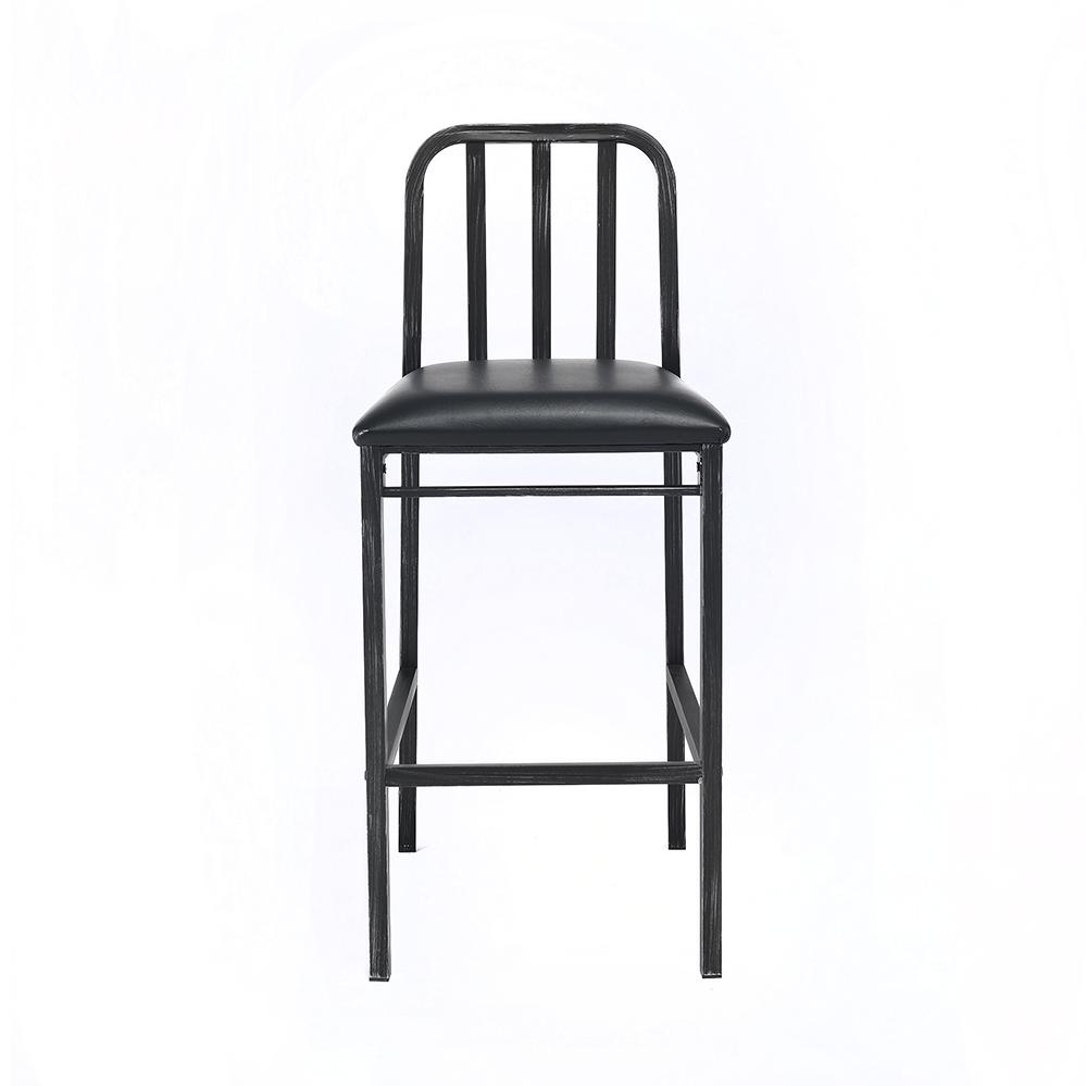 Jodie Bar Chair (Set-2), Black PU & Antique Black. Picture 3