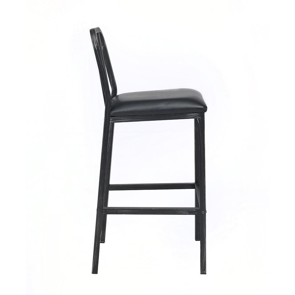 Jodie Bar Chair (Set-2), Black PU & Antique Black. Picture 4