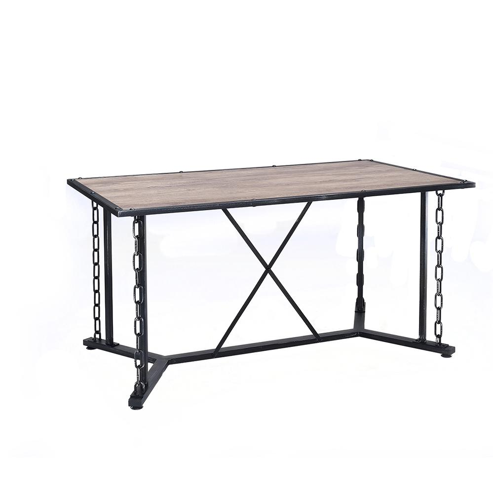 Jodie Dining Table, Rustic Oak & Antique Black. Picture 8