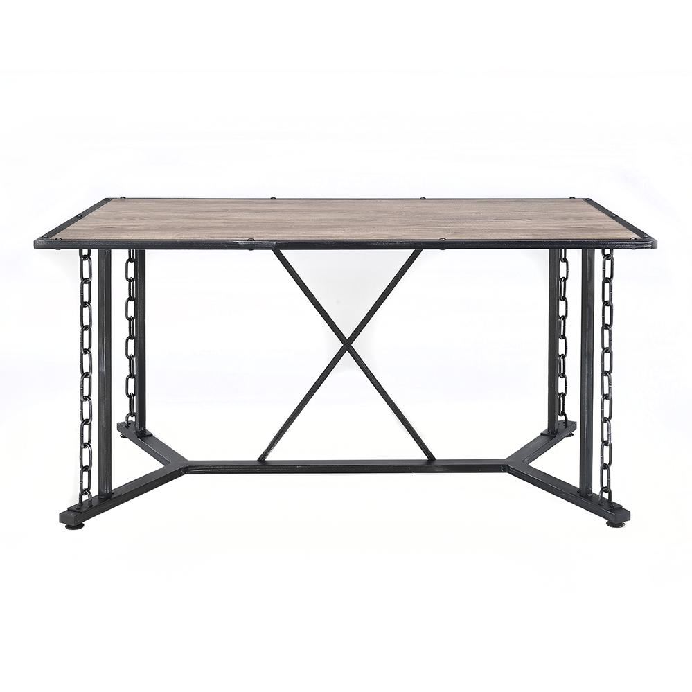 Jodie Dining Table, Rustic Oak & Antique Black. Picture 9