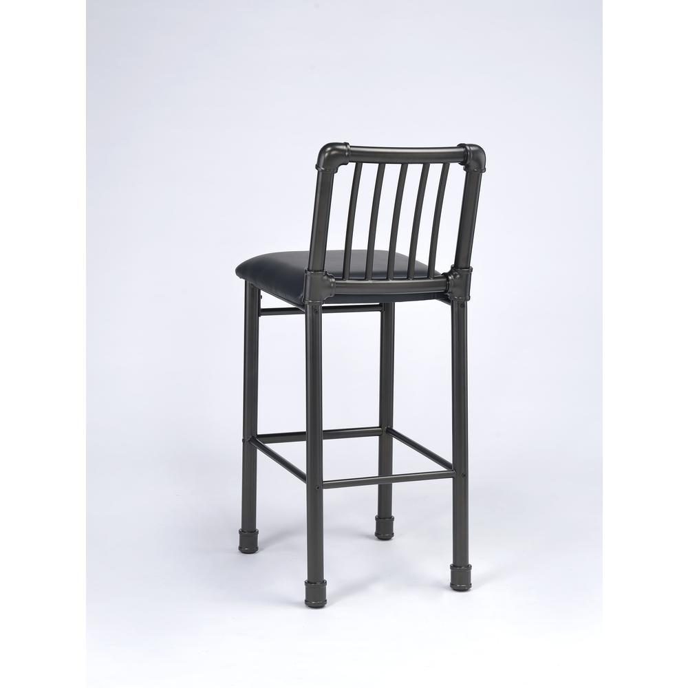 Caitlin Bar Chair (Set-2), Black PU & Black. Picture 2