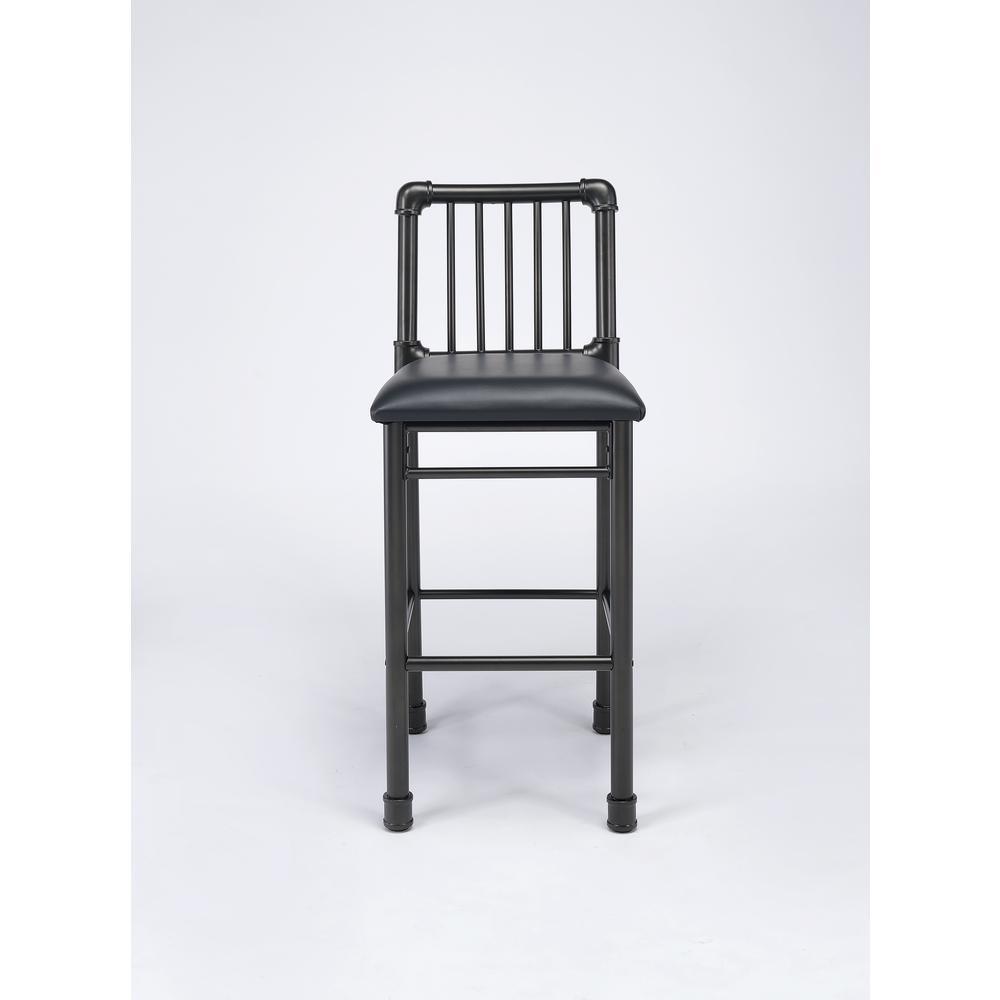 Caitlin Bar Chair (Set-2), Black PU & Black. Picture 3