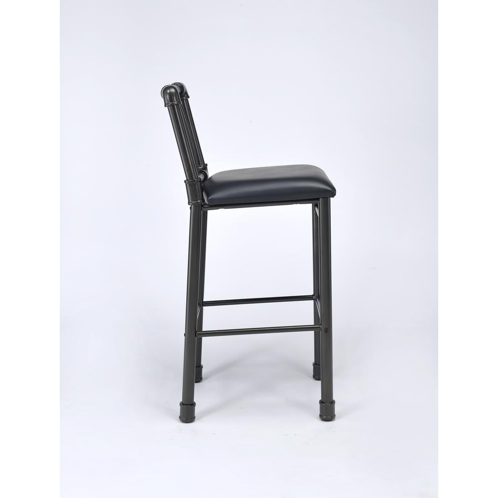 Caitlin Bar Chair (Set-2), Black PU & Black. Picture 4
