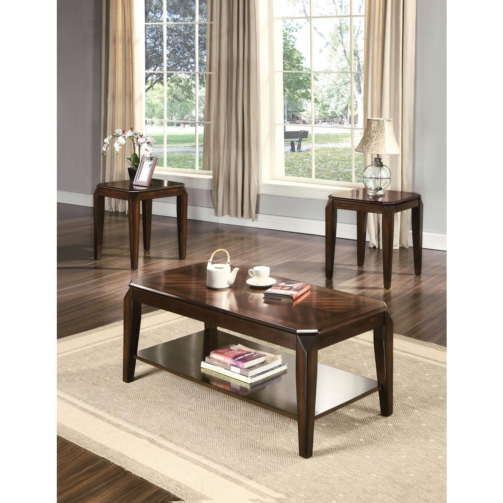 Docila 3Pc Pack Coffee/End Table Set, Walnut. Picture 1
