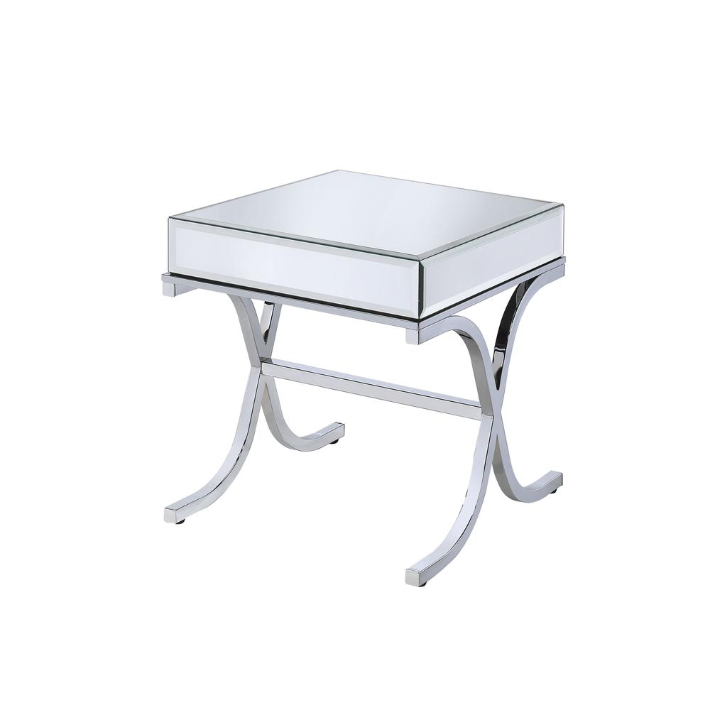 Yuri End Table, Mirrored Top & Chrome. Picture 1