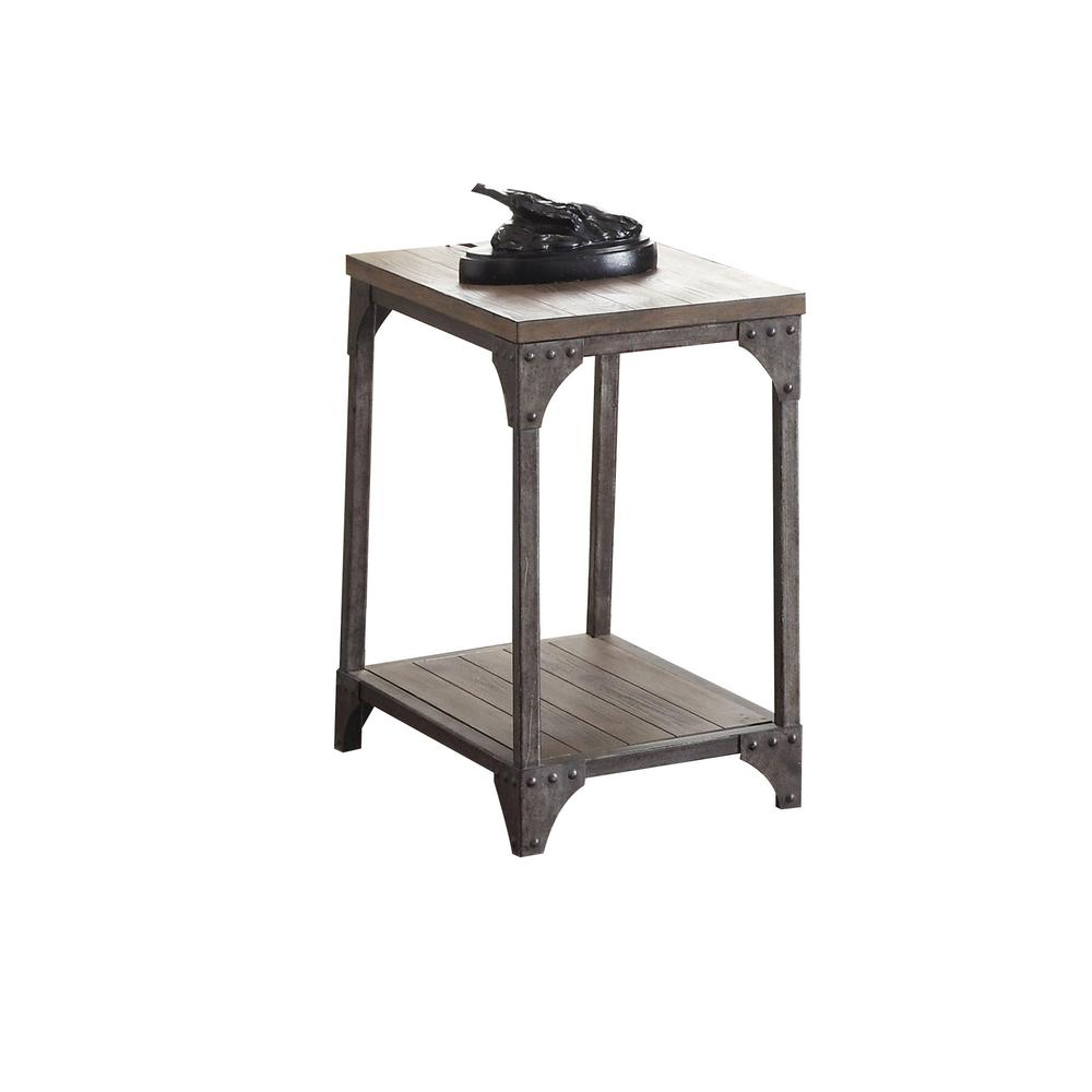Gorden End Table, Weathered Oak & Antique Nickel. Picture 1