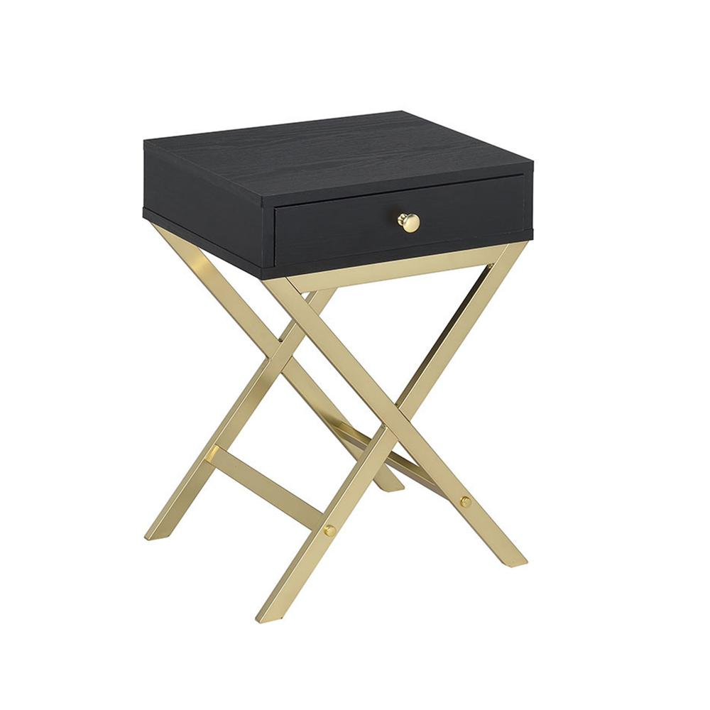 Coleen Side Table, Black & Brass. Picture 1