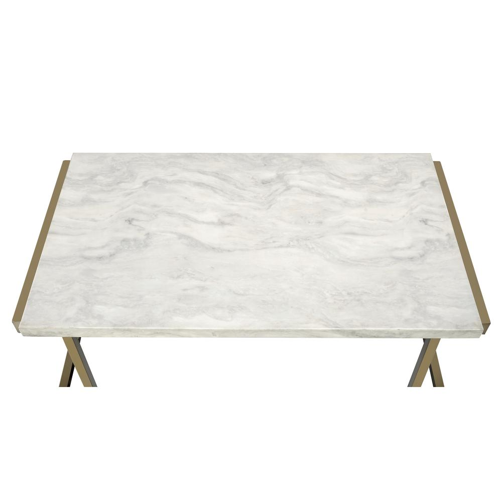 Boice II End Table, Faux Marble & Champagne. Picture 3