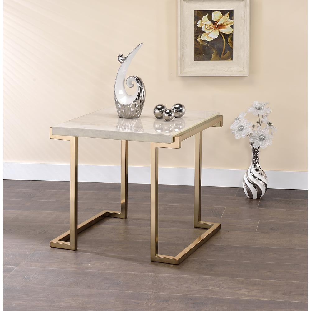Boice II End Table, Faux Marble & Champagne. Picture 4