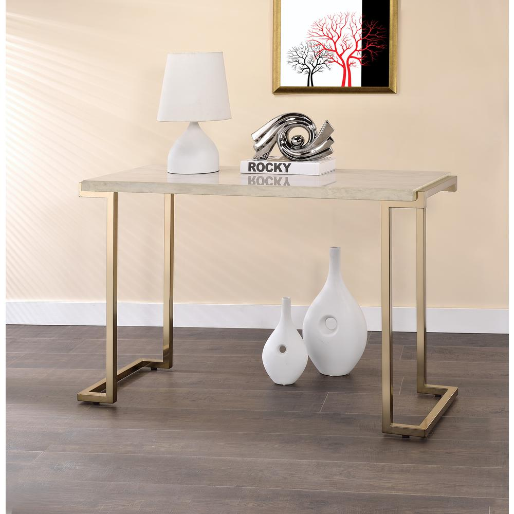 Boice II End Table, Faux Marble & Champagne. Picture 7