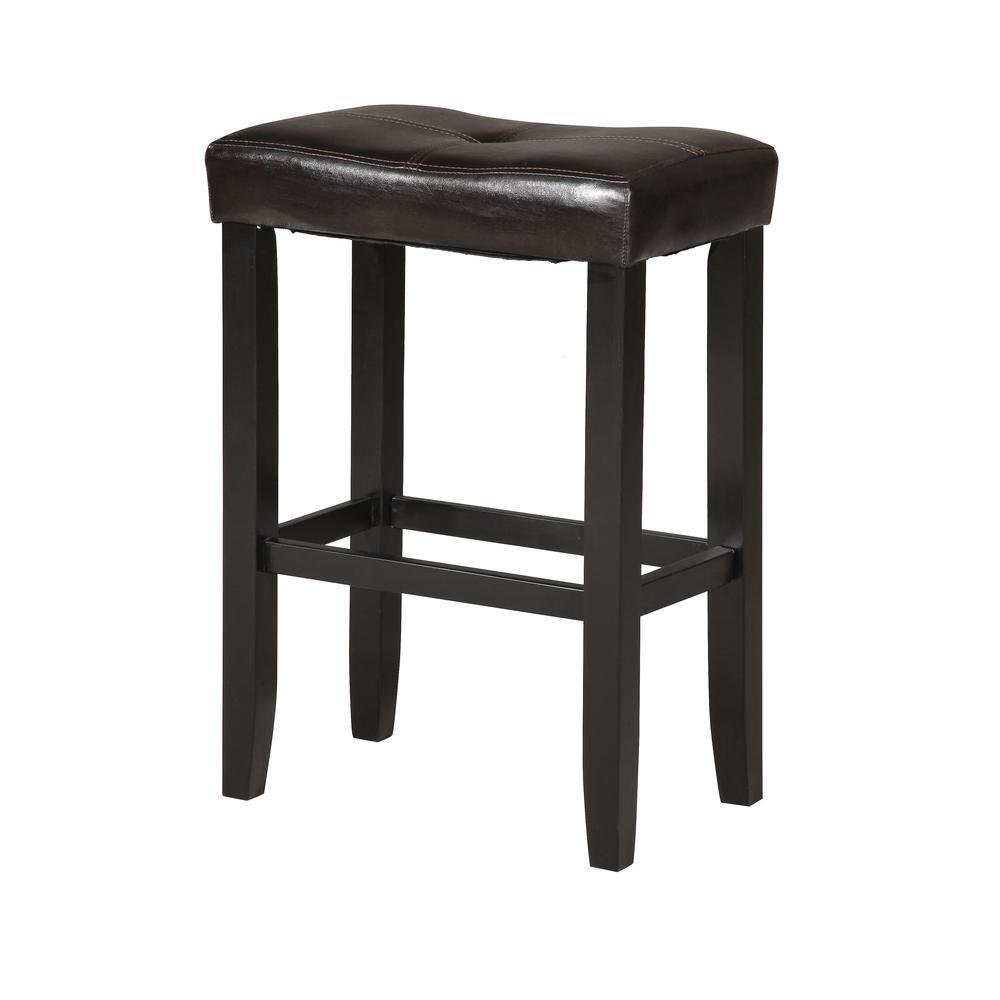 "Micha Bar Stool (Set-2), Espresso PU & Black, 30"" Seat Height. Picture 1"