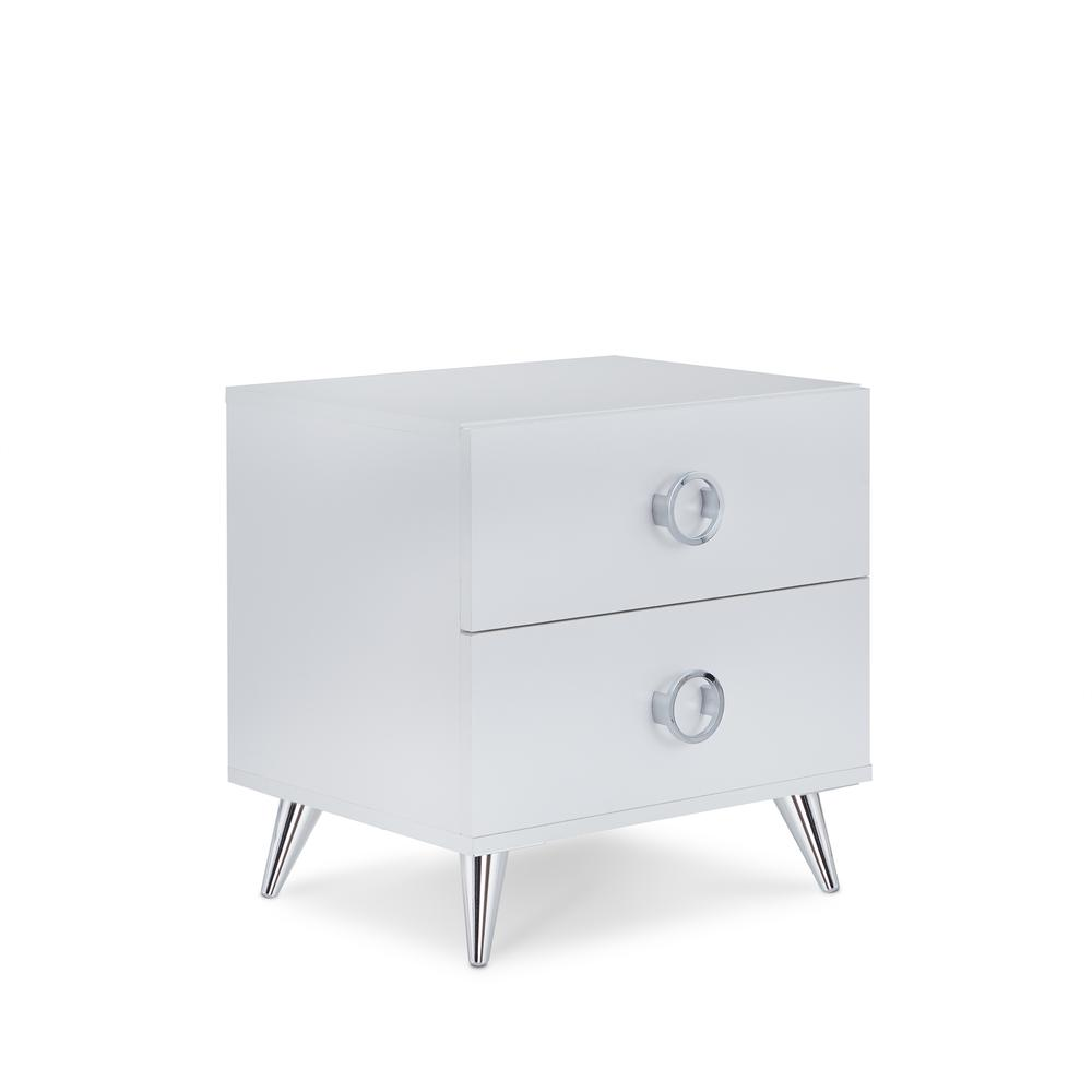 Elms Nightstand, White & Chrome. Picture 3