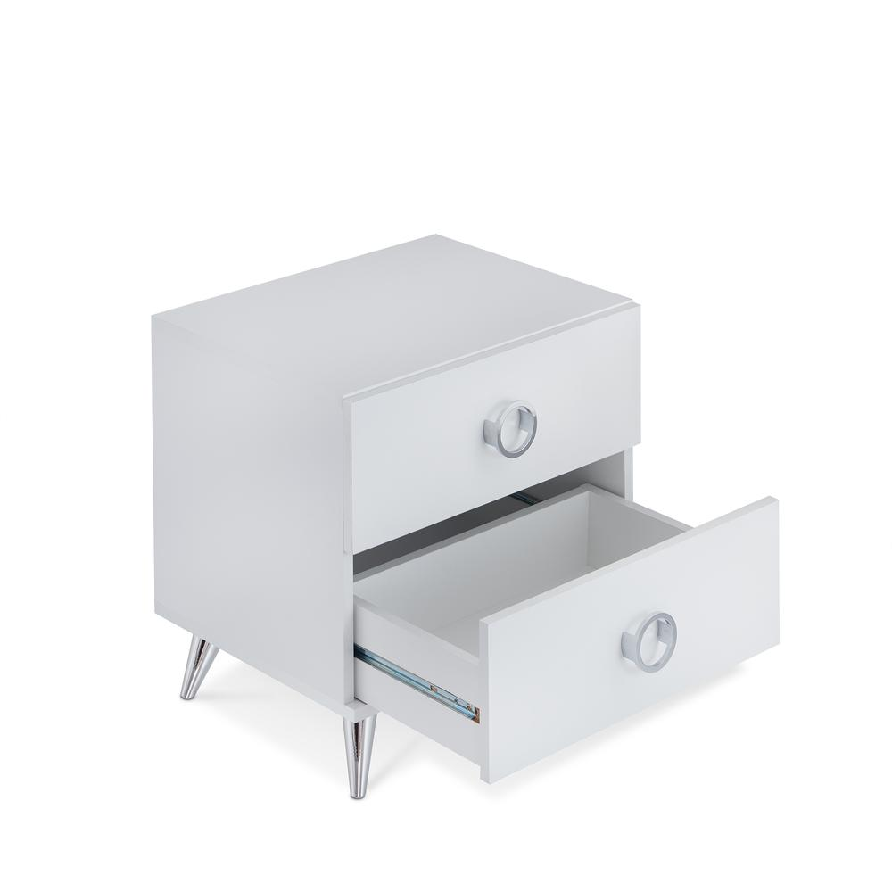 Elms Nightstand, White & Chrome. Picture 4