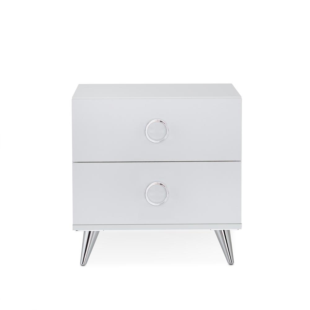 Elms Nightstand, White & Chrome. Picture 5