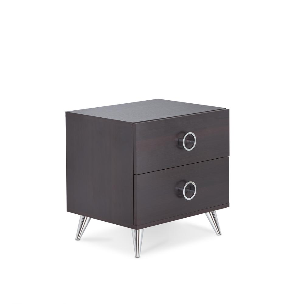 Elms Nightstand, White & Chrome. Picture 7