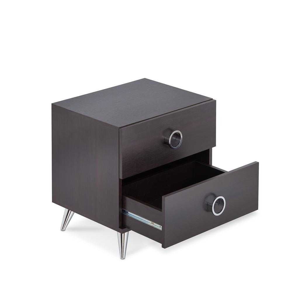 Elms Nightstand, White & Chrome. Picture 8