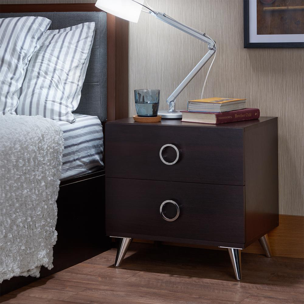 Elms Nightstand, White & Chrome. Picture 10
