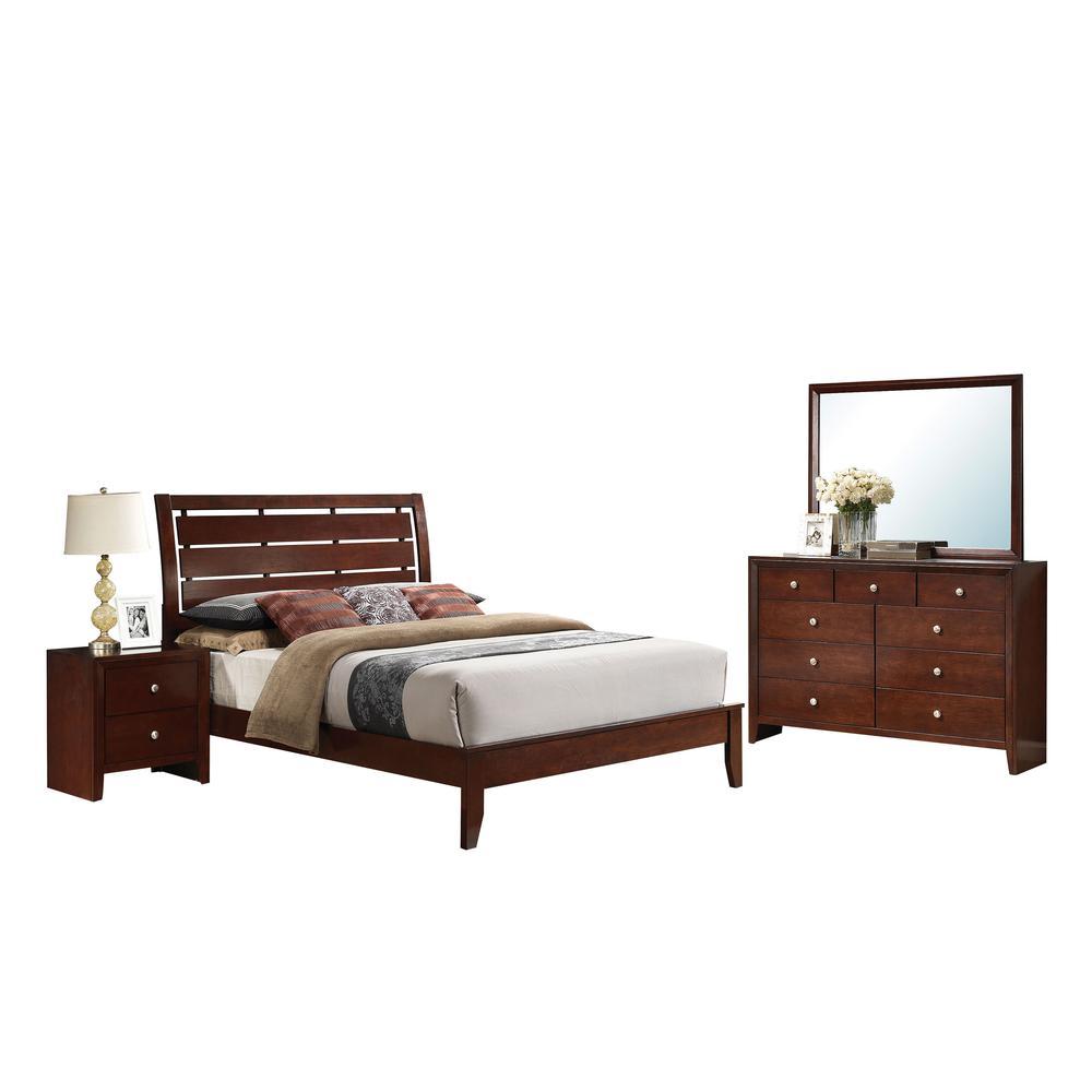 Ilana Queen Bed w/Storage, Brown PU & Brown Cherry, (1Set/3Ctn). Picture 1