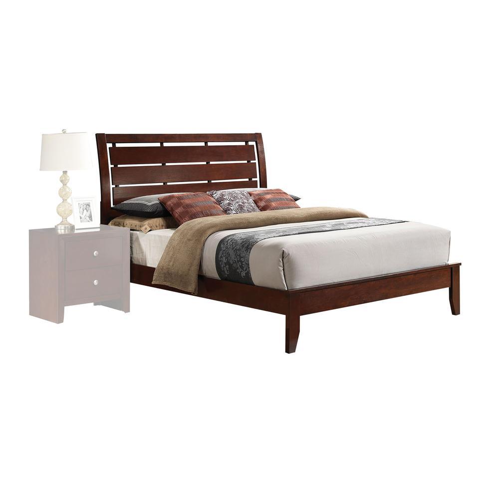 Ilana Queen Bed w/Storage, Brown PU & Brown Cherry, (1Set/3Ctn). Picture 2