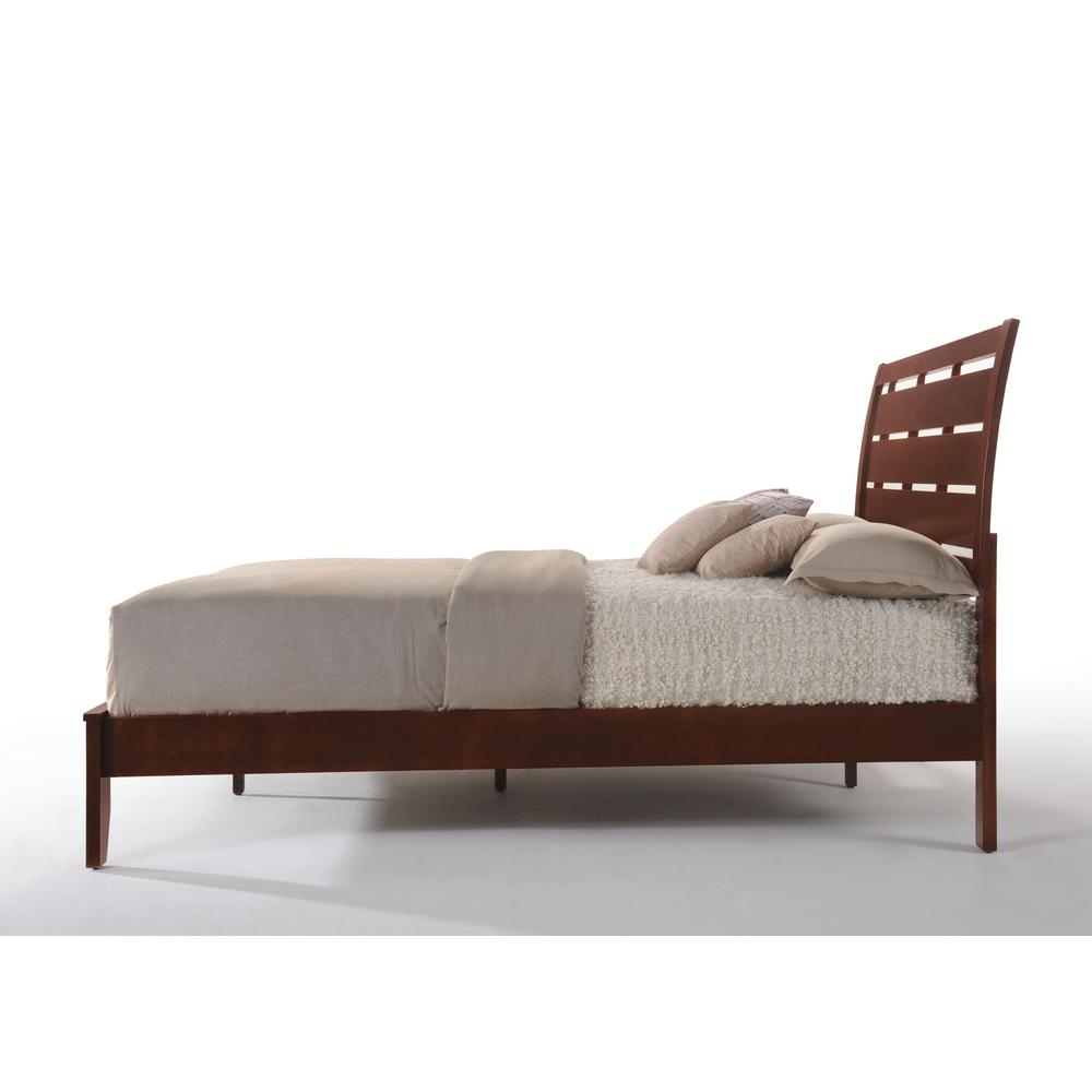 Ilana Queen Bed w/Storage, Brown PU & Brown Cherry, (1Set/3Ctn). Picture 5