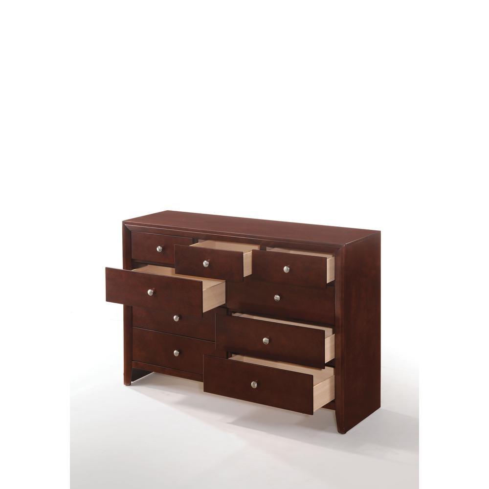 Ilana Queen Bed w/Storage, Brown PU & Brown Cherry, (1Set/3Ctn). Picture 17