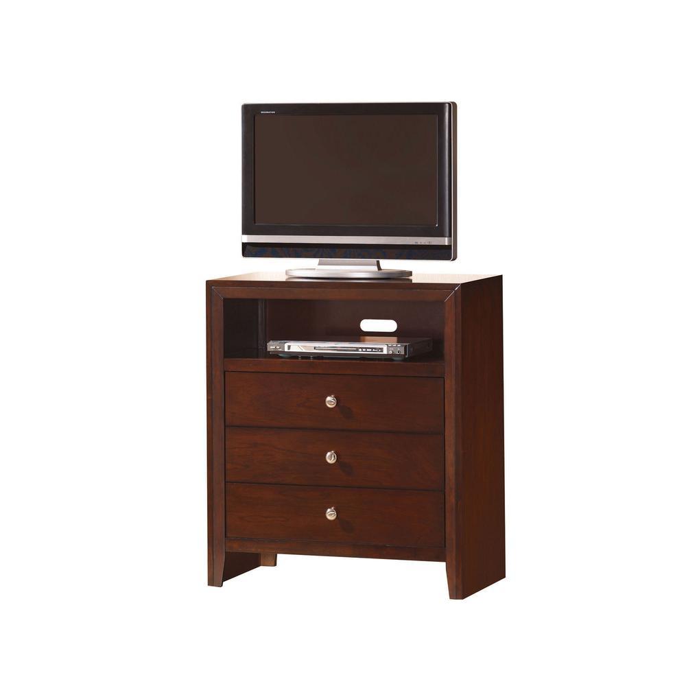 Ilana Queen Bed w/Storage, Brown PU & Brown Cherry, (1Set/3Ctn). Picture 25