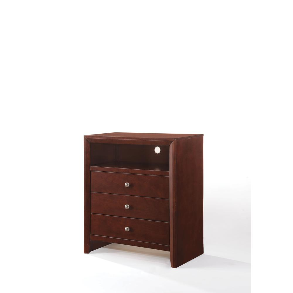 Ilana Queen Bed w/Storage, Brown PU & Brown Cherry, (1Set/3Ctn). Picture 26