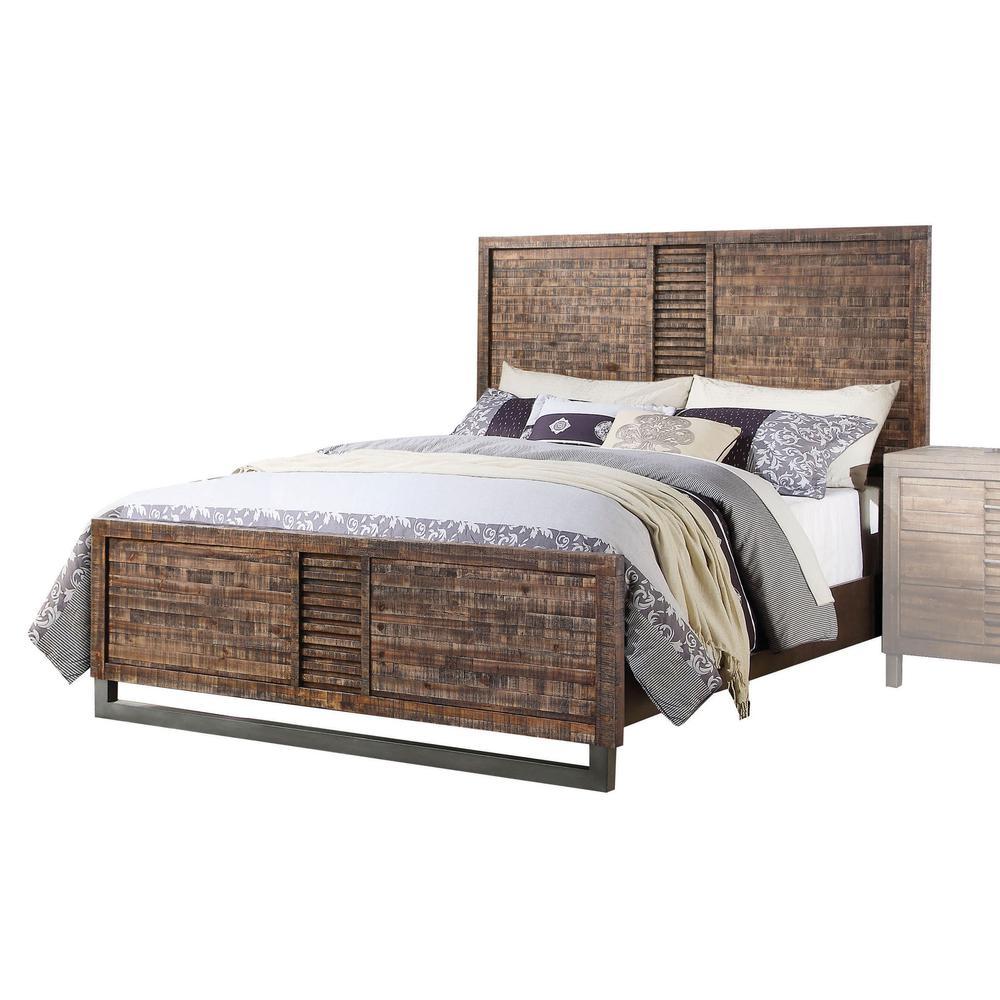 Andria Queen Bed, Reclaimed Oak (1Set/3Ctn). Picture 1