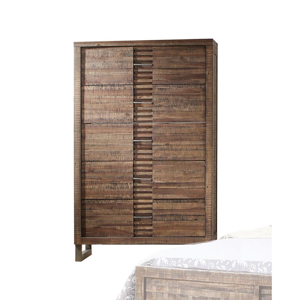 Andria Queen Bed, Reclaimed Oak (1Set/3Ctn). Picture 5