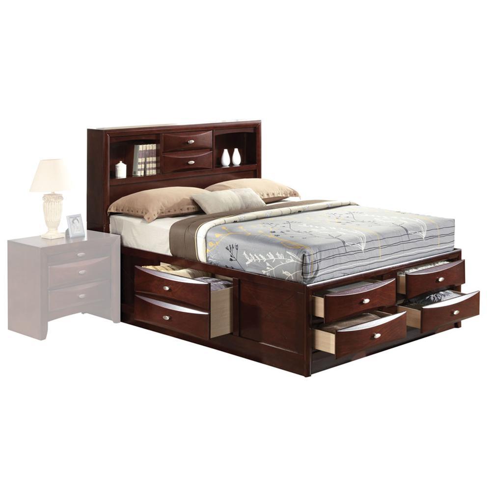 Ireland Queen Bed w/Storage, Espresso (1Set/4Ctn). Picture 9