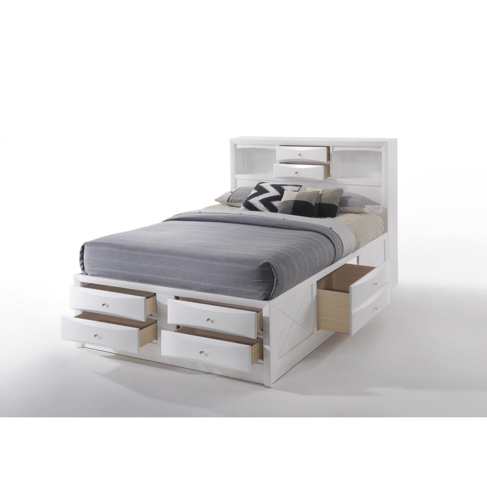 Ireland Queen Bed w/Storage, White (1Set/4Ctn). Picture 3
