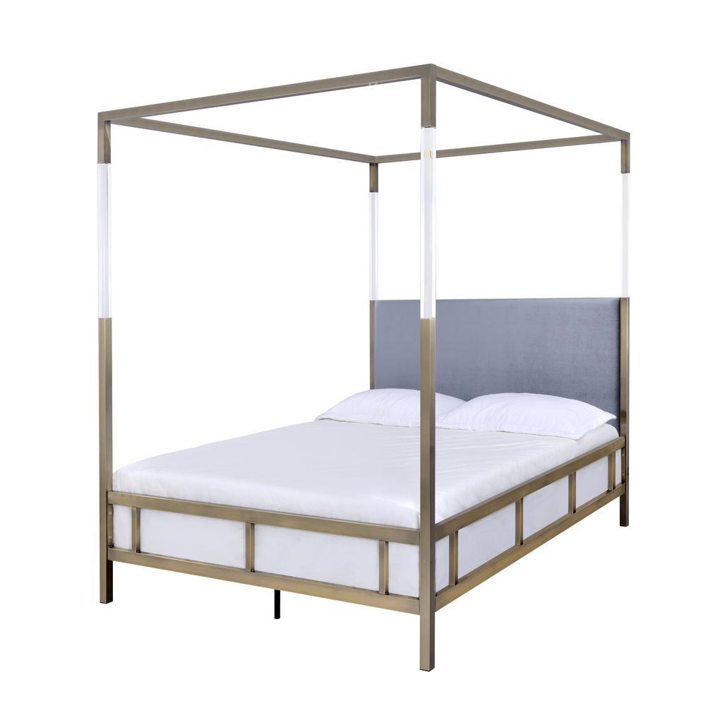 Raegan Queen Bed (Canopy), Gray Velvet & Antique Brass (1Set/2Ctn). Picture 1