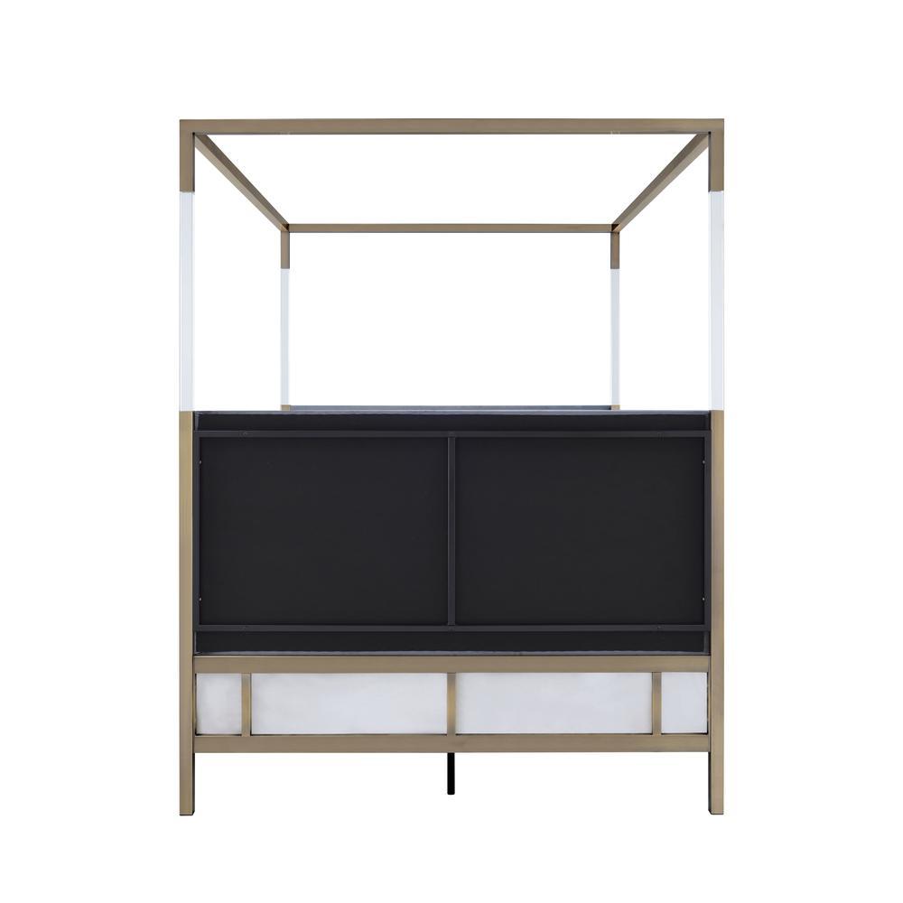 Raegan Queen Bed (Canopy), Gray Velvet & Antique Brass (1Set/2Ctn). Picture 2